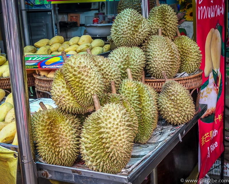 Lots of Durian on street stalls in Chiang Mai