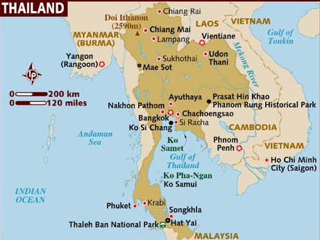 A map of Thailand and its neighbouring countries